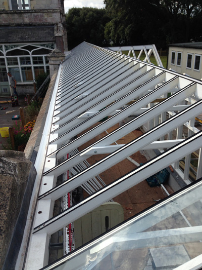 orangery roof under construction